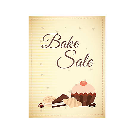 Plastic Sign, Bake Sale Brown, Vertical