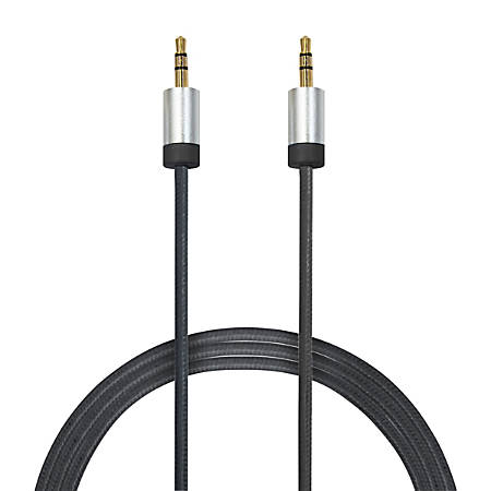 Duracell® 3.5 mm To 3.5 mm Aux Cable, 6', Gunmetal Gray