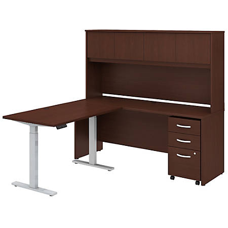 """Bush Business Furniture Studio C 72""""W x 24""""D L-Shaped Desk With Hutch, 48""""W Height-Adjustable Return And Storage, Harvest Cherry, Standard Delivery"""