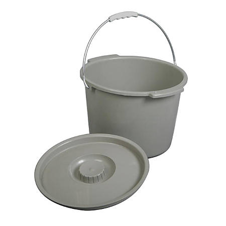 Medline Commode Buckets, Gray, Case Of 6