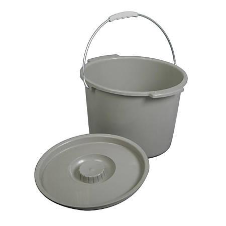 Medline Commode Buckets, Gray, Case Of 6