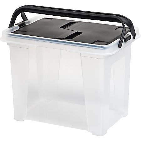 Iris® Portable Wing-Lid File Box, Letter Size, Clear/Black