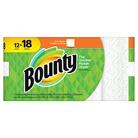 """Bounty 2-Ply Paper Towels, 11"""" x 10-1/4"""", White, Pack Of 12 Giant Rolls"""