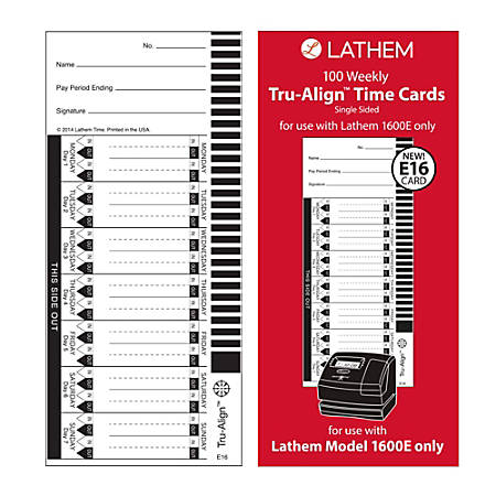 """Lathem TruAlign E16 Time Cards For 1600E, Weekly, 1-Sided, 4"""" x 9"""", White, Box Of 100"""