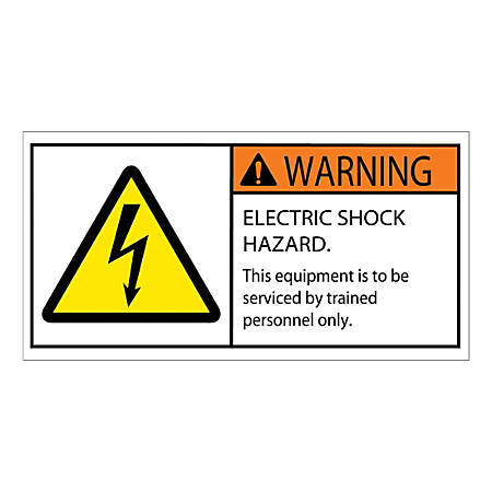 "Tape Logic Durable Rectangle Safety Labels, DSL519, 2"" x 4"", Warning Electric Shock Hazard, Roll Of 25 Labels"