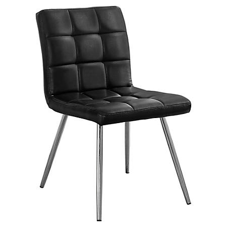 Monarch Specialties Emilia Dining Chairs, Black/Chrome, Set Of 2 Chairs
