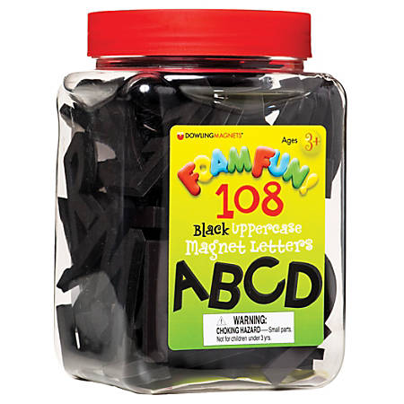 """Dowling Magnets Foam Fun Uppercase Magnet Letters, Black, 7"""" x 5 1/2"""", Pack Of 108 Letters, Pre-K - Grade 4"""