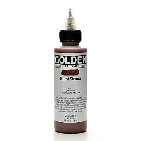 Golden Matte Fluid Acrylic Paint, 4 Oz, Burnt Sienna