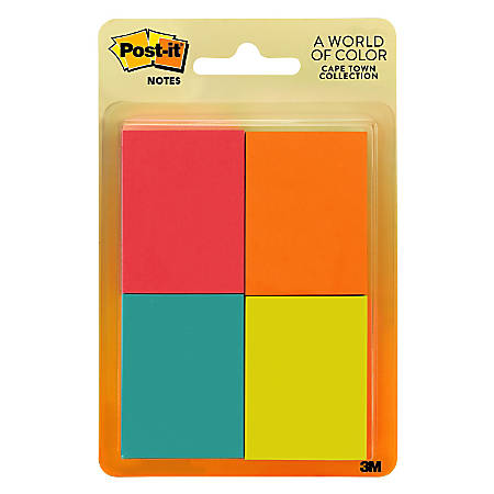 """Post-it® Notes, 1-1/2"""" x 2"""", Cape Town, Pack Of 8 Pads"""