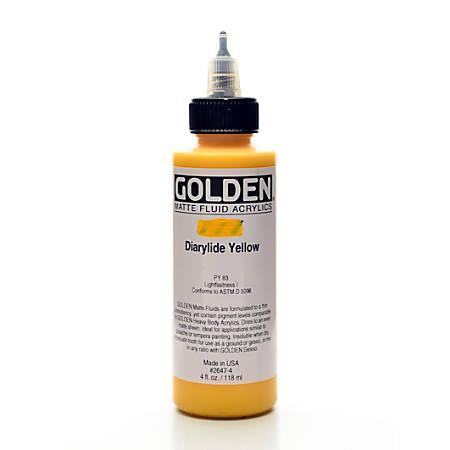 Golden Matte Fluid Acrylic Paint, 4 Oz, Diarylide Yellow