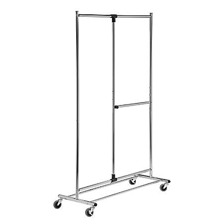 "Honey-Can-Do Dual-Bar Garment Rack, 74""H x 19""W x 45 1/4""D, Chrome"