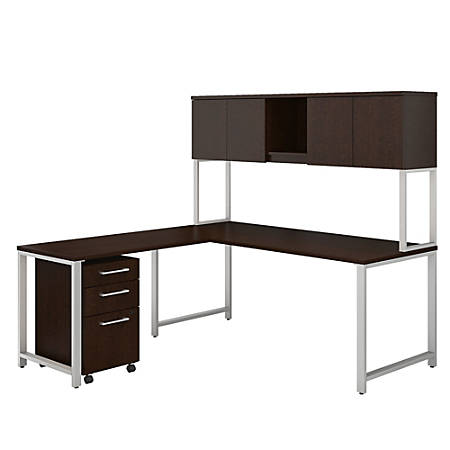 """Bush Business Furniture 400 Series L Shaped Desk And Hutch With 42""""W Return And 3 Drawer Mobile File Cabinet, Mocha Cherry, Premium Installation"""