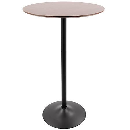 """LumiSource Pebble Break Room Table, 42-1/2""""H x 27""""W x 27""""D, Black/Walnut"""