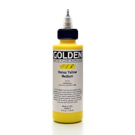 Golden Matte Fluid Acrylic Paint, 4 Oz, Hansa Yellow Medium