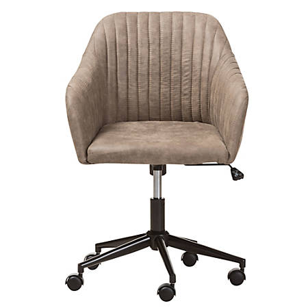 Baxton Studio Chiara Fabric Mid-Back Office Chair, Light Brown/Black