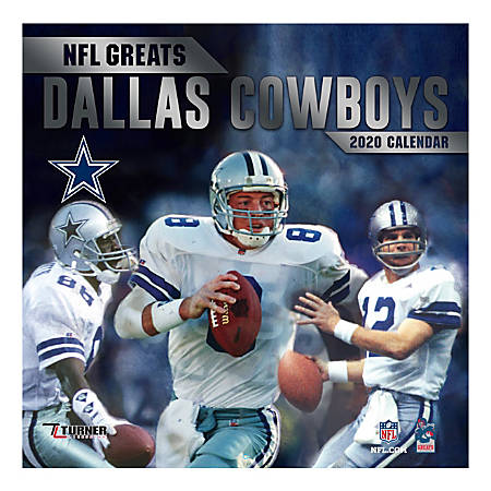 "Turner Licensing Monthly Wall Calendar, 12"" x 12"", Dallas Cowboys NFL Greats, 2020"