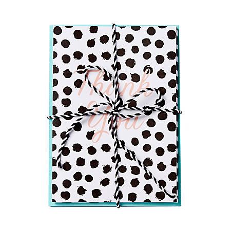 """Sincerely A Collection by C.R. Gibson® Baker's Twine Note Cards With Envelopes, 4 1/4"""" x 6"""", Black Dot, Blank Inside, Bag Of 8"""