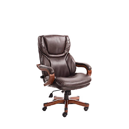 Serta Big And Tall Bonded Leather High-Back Office Chair With Upgraded Wood Accents, Win-Win Biscuit/Espresso