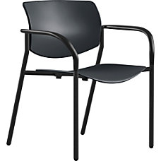 Lorell Contemporary Plastic Stacking Chair Black