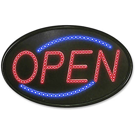 """Newon Newton LED Sign - 1 Each - Open Print/Message - 21"""" Width x 13"""" Height - Red, Blue Print/Message Color - Shatter Resistant"""