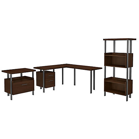 """Bush Furniture Architect 60""""W L-Shaped Desk With Lateral File Cabinet And 4-Shelf Bookcase, Modern Walnut, Standard Delivery"""