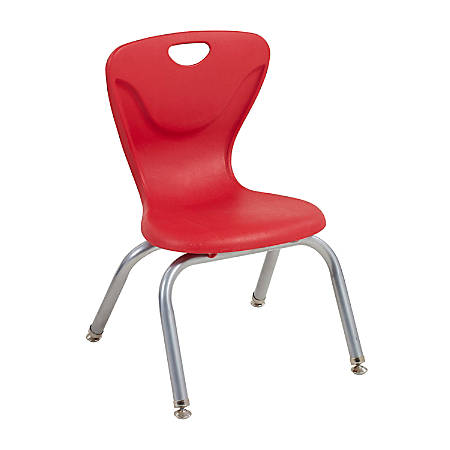 """ECR4Kids Contour Stacking Chairs, 23 13/16""""H, Red/Silver, Set Of 4"""