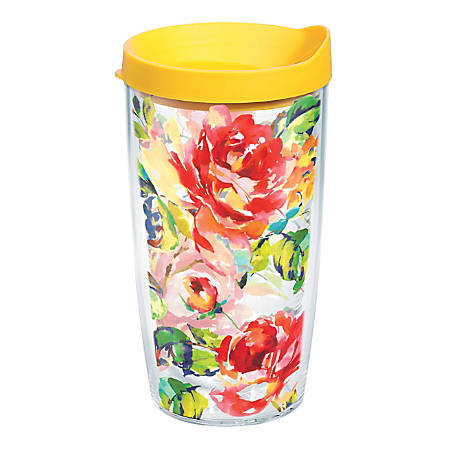 Tervis Fiesta Rose Tumbler With Lid, 16 Oz, Clear