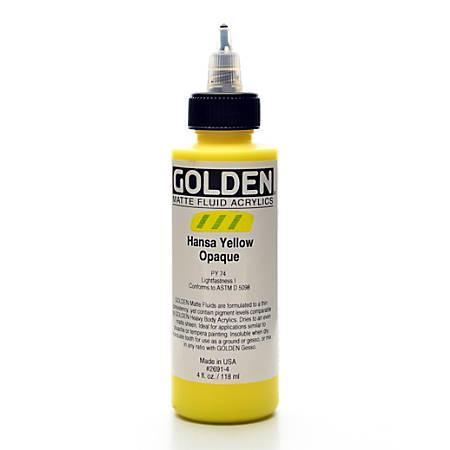 Golden Matte Fluid Acrylic Paint, 4 Oz, Hansa Yellow Opaque