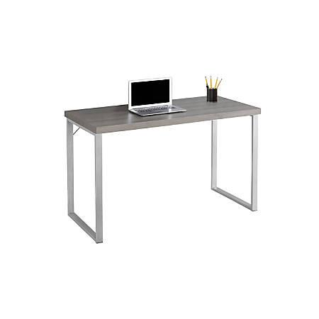 Monarch Specialties Contemporary Computer Desk, Dark Taupe/Silver