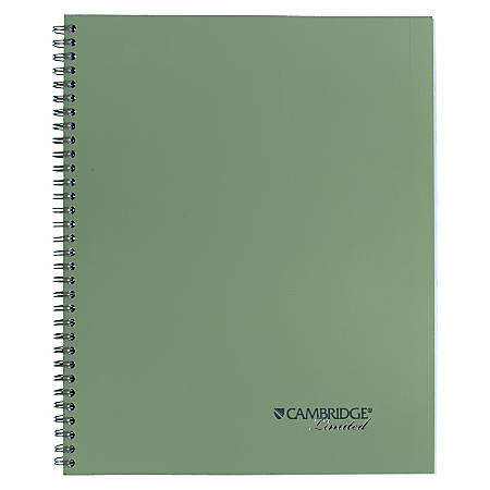 """Cambridge® Limited® 30% Recycled Business Notebook, 8 1/2"""" x 11"""", 1 Subject, Legal Ruled, 80 Sheets, Sage"""