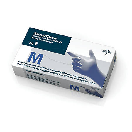 SensiCare® Powder-Free Nitrile Exam Gloves, Medium, Blue, 50 Gloves Per Box, Case Of 10 Boxes