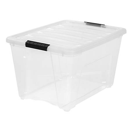 "IRIS® Latch Plastic Storage Bin, 53.6 Qt, 22"" x 16 1/2"" x 13"", Clear"