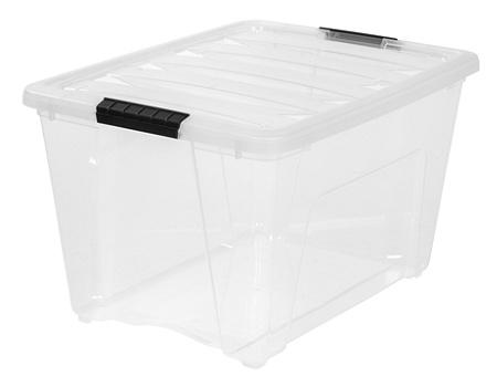 iris latch plastic storage bin 53 6 qt 22 x 16 12 x 13 clear by