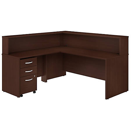 "Bush Business Furniture Studio C 72""W x 30""D L-Shaped Reception Desk With Shelf And Mobile File Cabinet, Harvest Cherry, Standard Delivery"