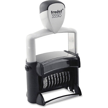 Trodat 10-Digit Self-Ink Number Stamp - Date Stamp - 10 Bands - Black - 1 Each