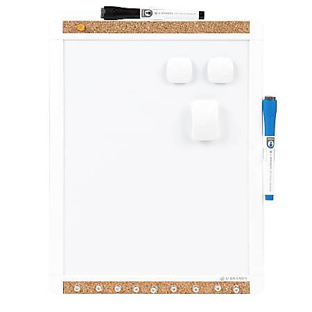 "U Brands PINIT Magnetic Dry-Erase Board, Steel, 11"" x 14"", White, Plastic Frame"