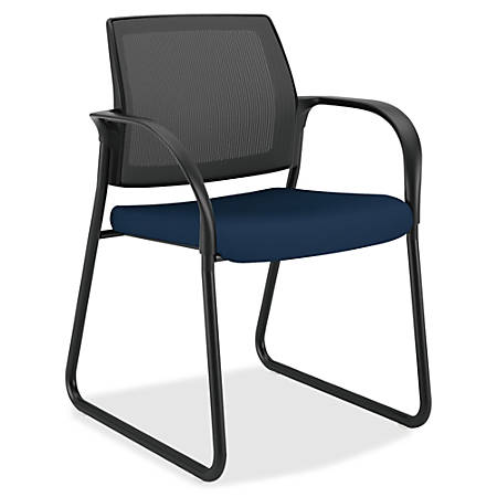 """HON Ignition Multi-Purpose Chair - Fabric Navy Seat - Steel Frame - Sled Base - 25"""" Width x 21.8"""" Depth x 33.5"""" Height"""