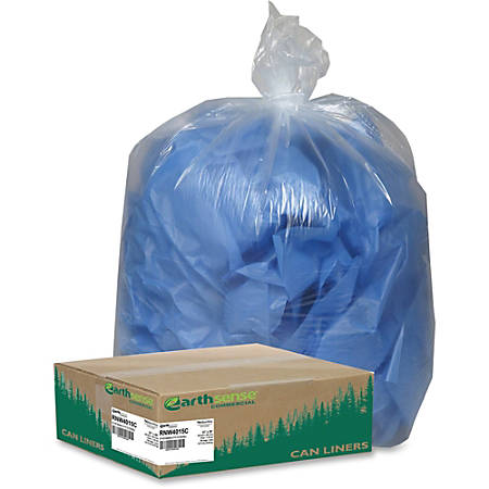 """Webster Coreless Heavy-duty Can Liners - Medium Size - 33 gal - 33"""" Width x 39"""" Length x 1.25 mil (32 Micron) Thickness - Low Density - Clear - Resin - 100/Carton"""