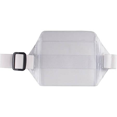 Advantus Arm Badge Holder - Horizontal - Vinyl - 12 / Box - White, Clear