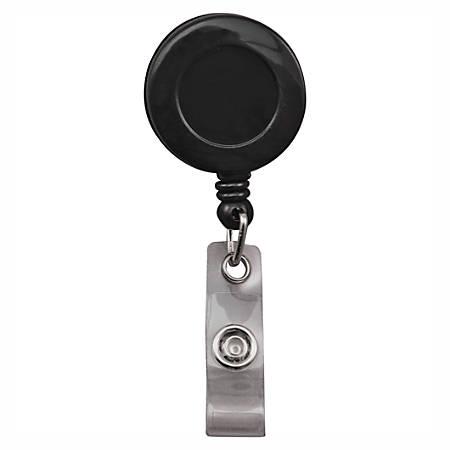Advantus Snap Clip Retractable ID Reels, Black, Pack Of 25