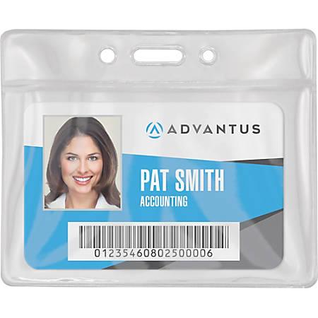 Advantus Vinyl ID Badge Holders - Horizontal - Vinyl - 50 / Pack - Clear