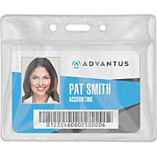 Advantus Vinyl ID Badge Holders Horizontal
