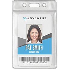 Advantus Vinyl ID Badge Holders Vertical
