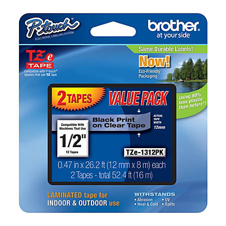 "Brother® TZe-1312-PK Black-On-Clear Tapes, 0.5"" x 26.2', Pack Of 2"