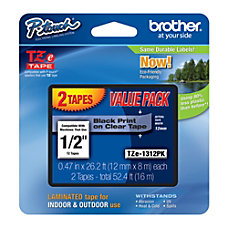 Brother TZe 1312 PK Black On