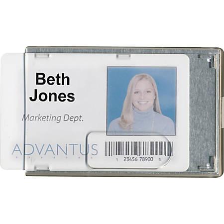 Advantus RFID Blocking Badge Holder - Vertical, Horizontal - Vinyl - 20 / Pack - Clear