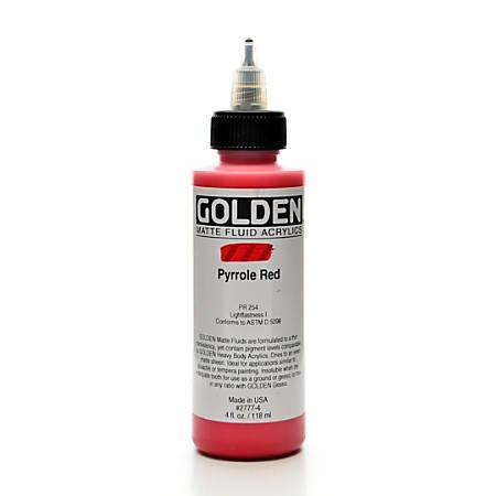 Golden Matte Fluid Acrylic Paint, 4 Oz, Pyrrole Red