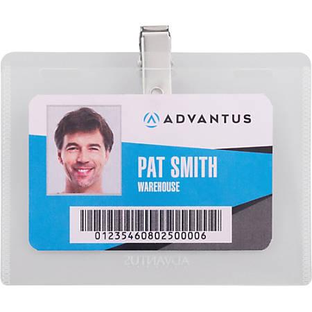 Advantus DIY Clip-style Name Badge Kit - Horizontal - Plastic - 50 / Box - White, Clear