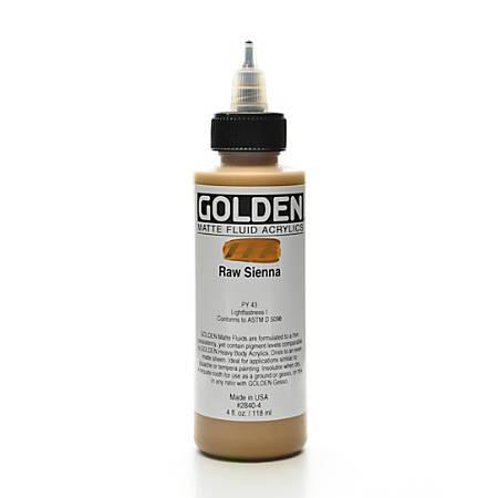 Golden Matte Fluid Acrylic Paint, 4 Oz, Raw Sienna