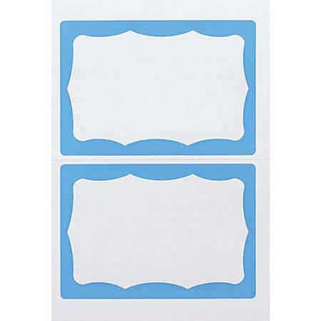 """Advantus Color Border Adhesive Name Badges, AVT97048, 2 5/8"""" x 3 3/4"""" Rectangle, White/Blue , Box Of 100"""